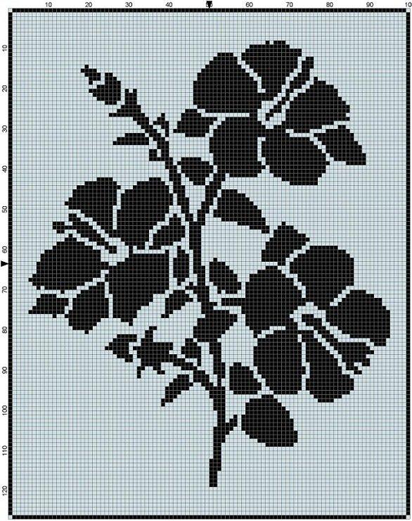 Чёрно белые цветы вышивка 11