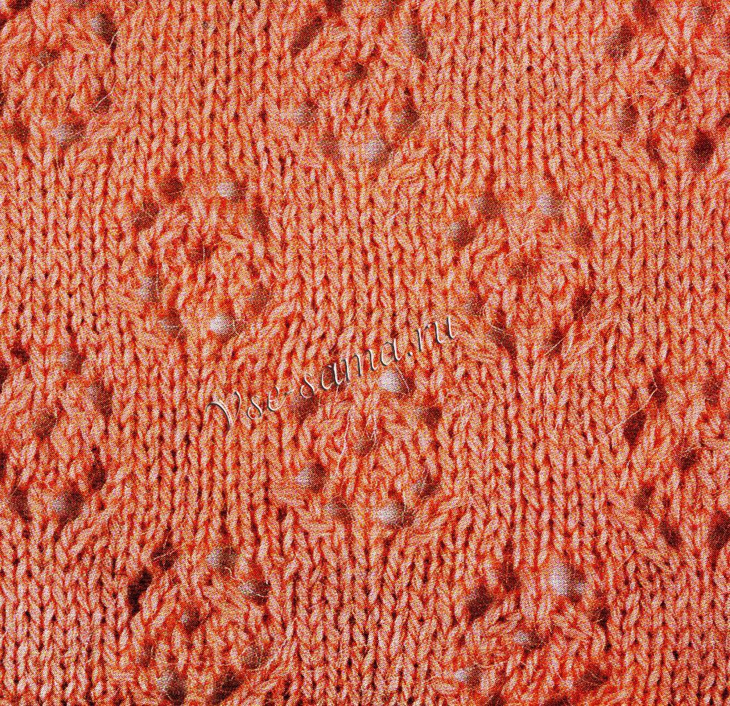 Вязание спицами. Узор Ажурные листья с цветами. Часть 1
