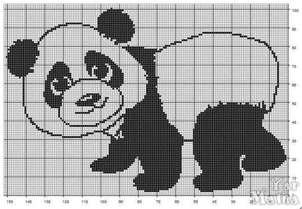 Схема вязания мишки панда 64