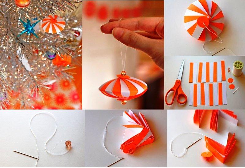 Как сделать ёлочную игрушку из бумаги и картона