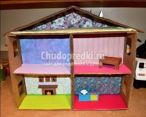 Кукольный домик из коробки для барби и мебель как делать