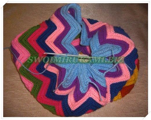 Вязание крючком зигзаг подушка