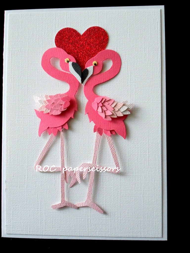 Открытка своими руками фламинго