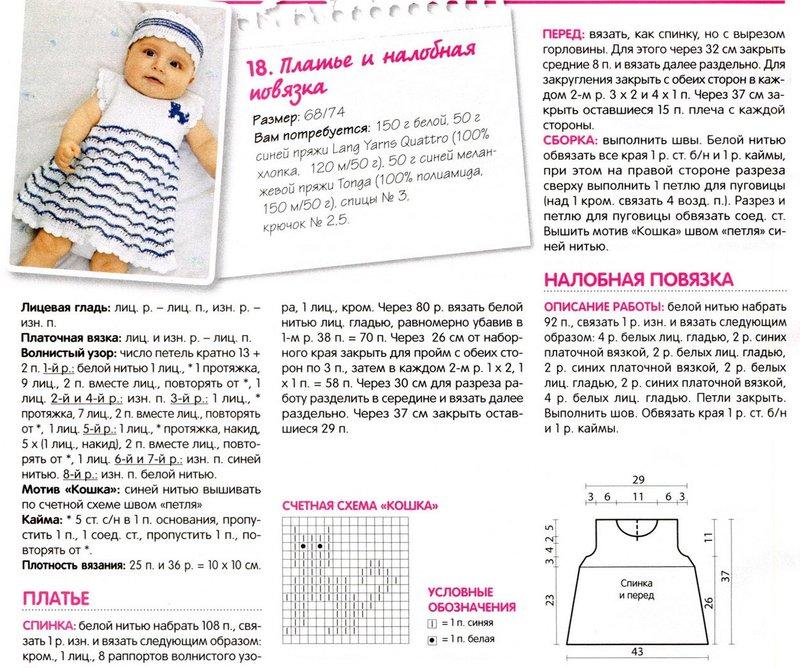 Схемы вязания платьев для детей до года