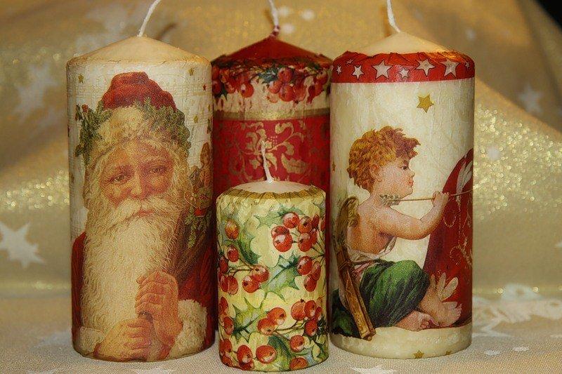 Декупаж к новому году свеча