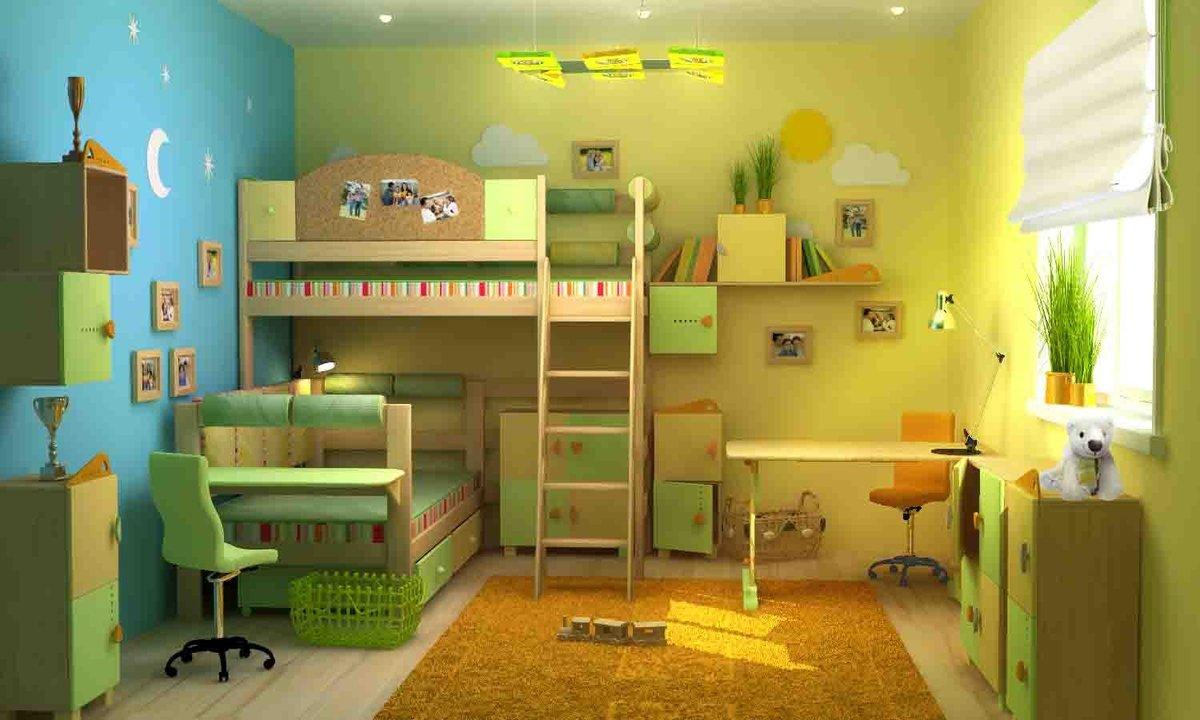 Как обустроить детскую комнату для двух детей 14