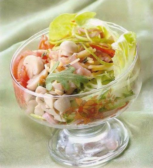 Коктейль с ветчиной салат рецепт с фото пошагово