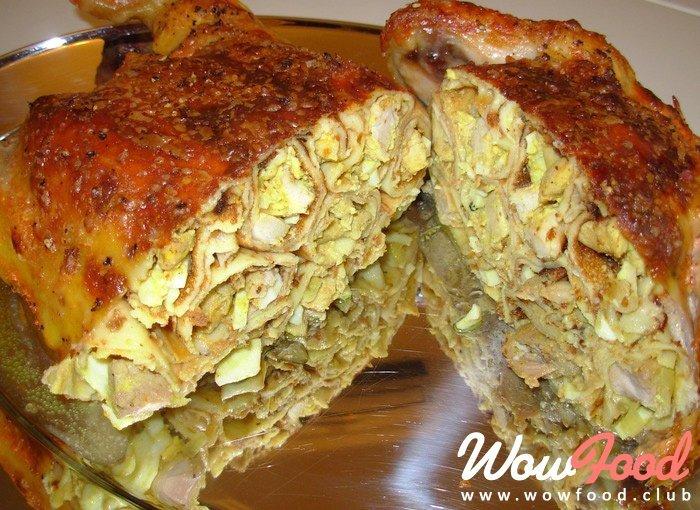 Курица фаршированная в тесте в духовке рецепт