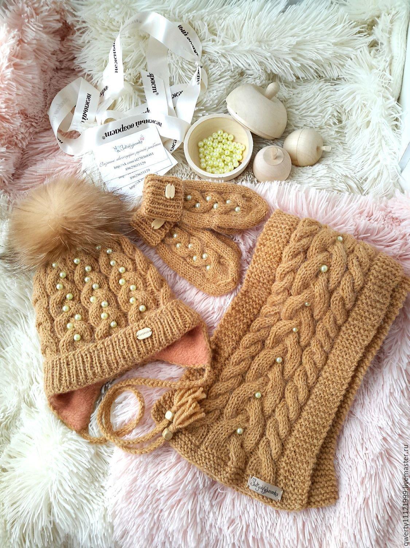 Шарф и шапка для девочки спицами. Работы Тамары Матус 83