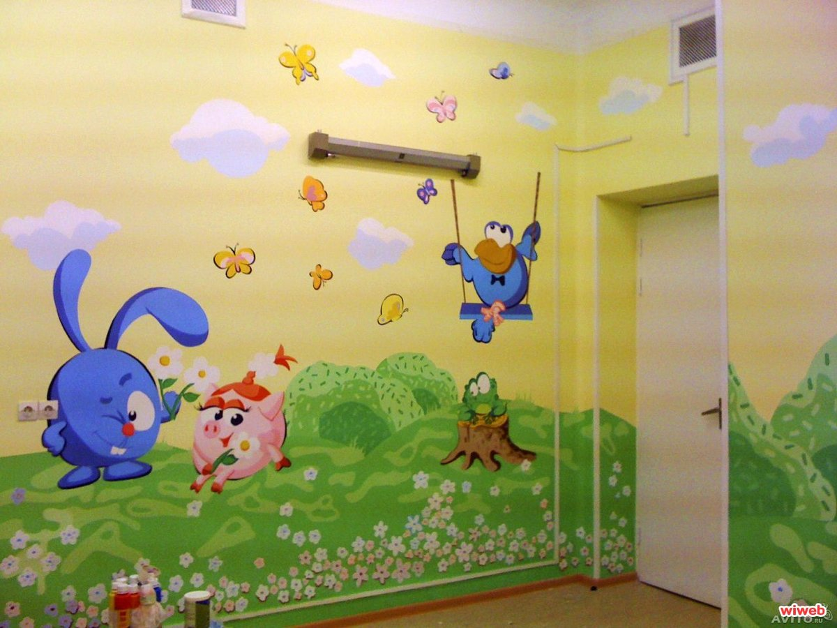 Рисуем на стене в детской комнате своими руками фото