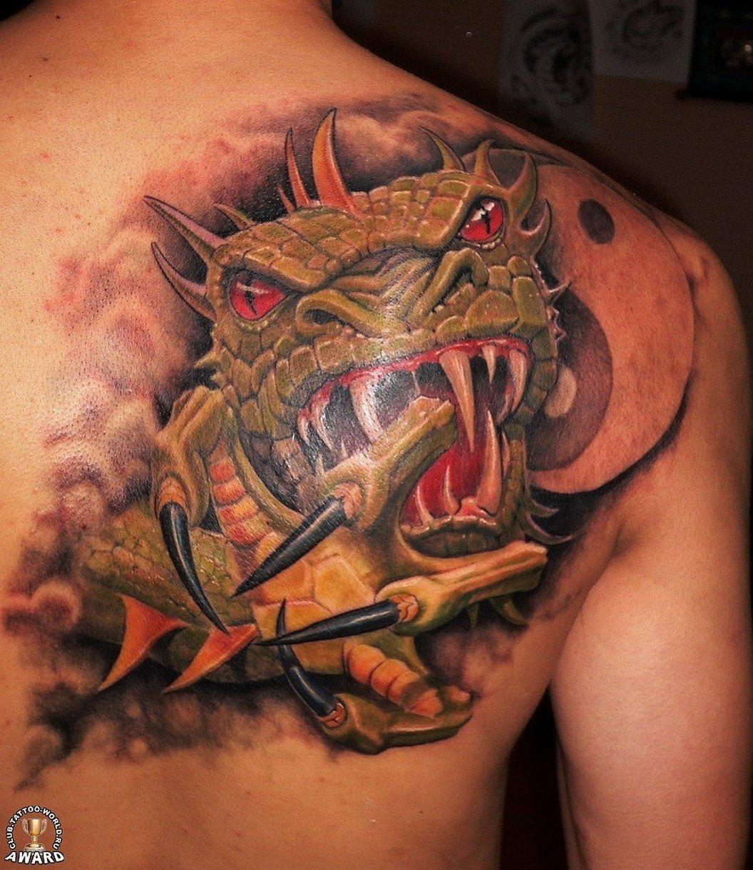 Цветные тату дракона на плече мужские