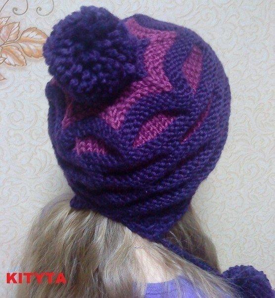 Вязать шапку из двух цветов 95