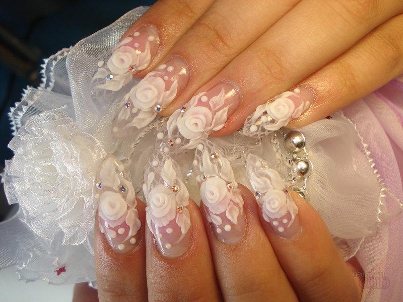 Наращивание ногтей. свадебный дизайн