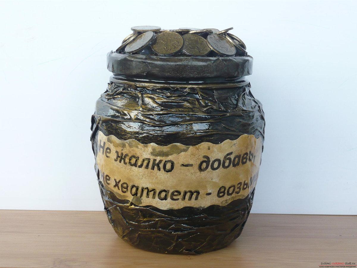 Копилка для денег из банки своими руками