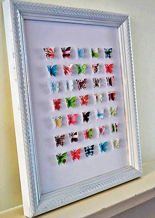 Бабочки в рамке на стену своими руками 84