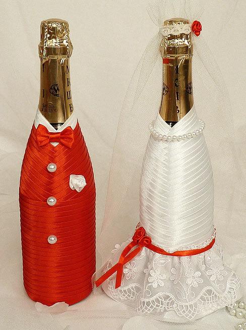 Бутылки шампанского на свадьбу мастер класс лентами