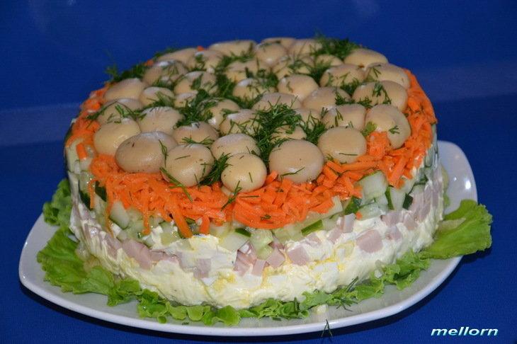 Салат грибная поляна рецепт с корейской морковкой