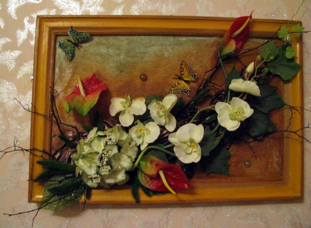 Композиции из искусственных цветов своими руками в рамке 86