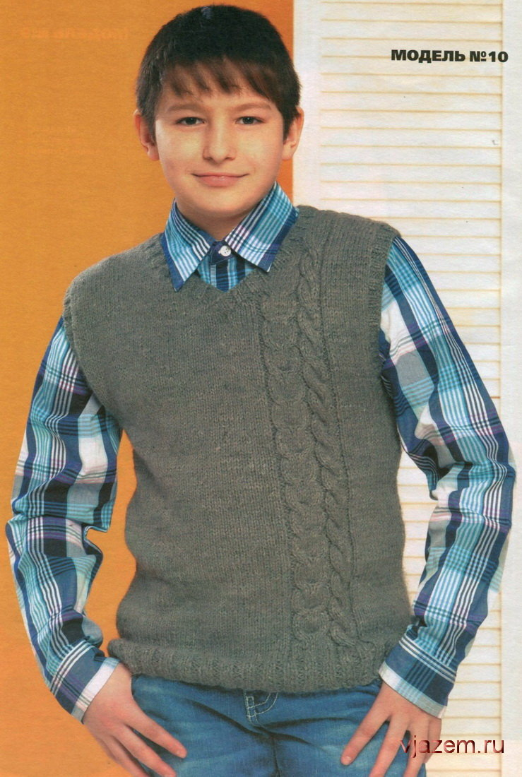 Вязание спицами жилет для подростка