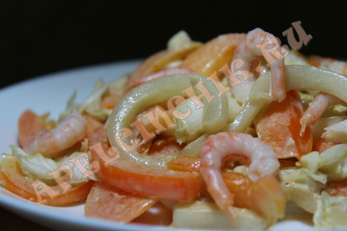 Салаты из морепродуктов праздничный с