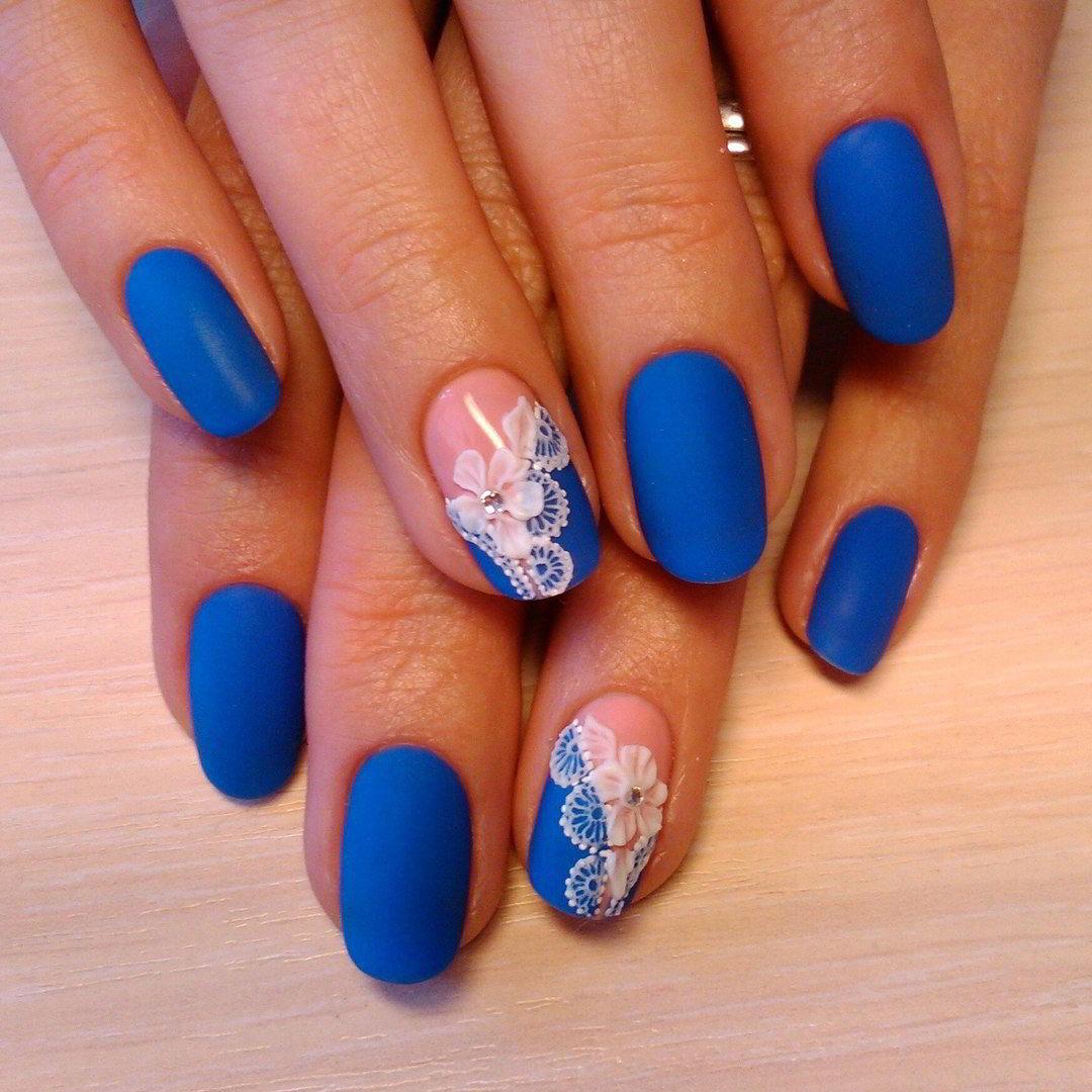 Голубой дизайн ногтей гель лак