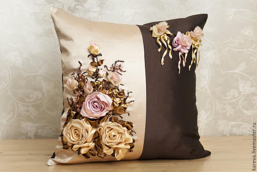 Вышивка атласными лентами декоративные подушки 88