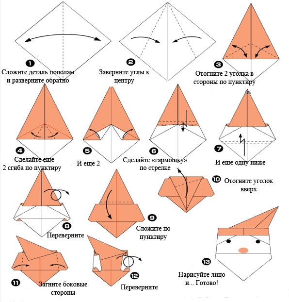 Новогодние игрушки из бумаги своими руками оригами схема