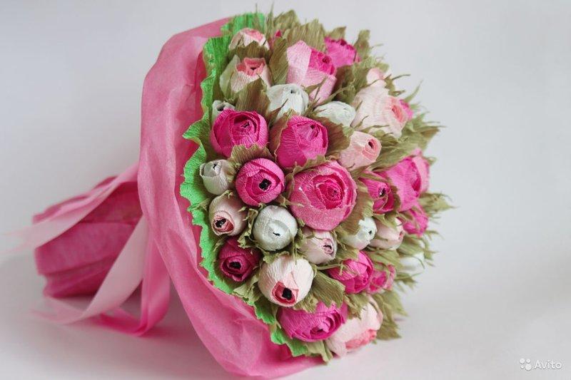 Конфетный букет розы своими руками