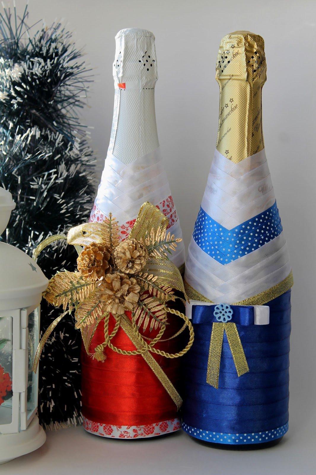Бант на бутылку шампанского новый год