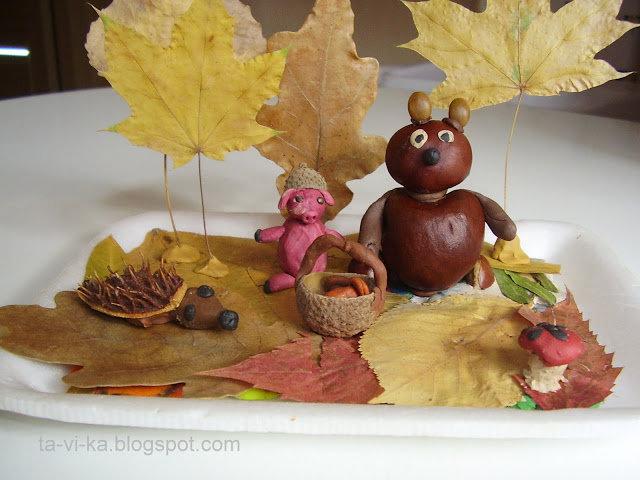 Осенние поделки для детского сада из природного материала 65
