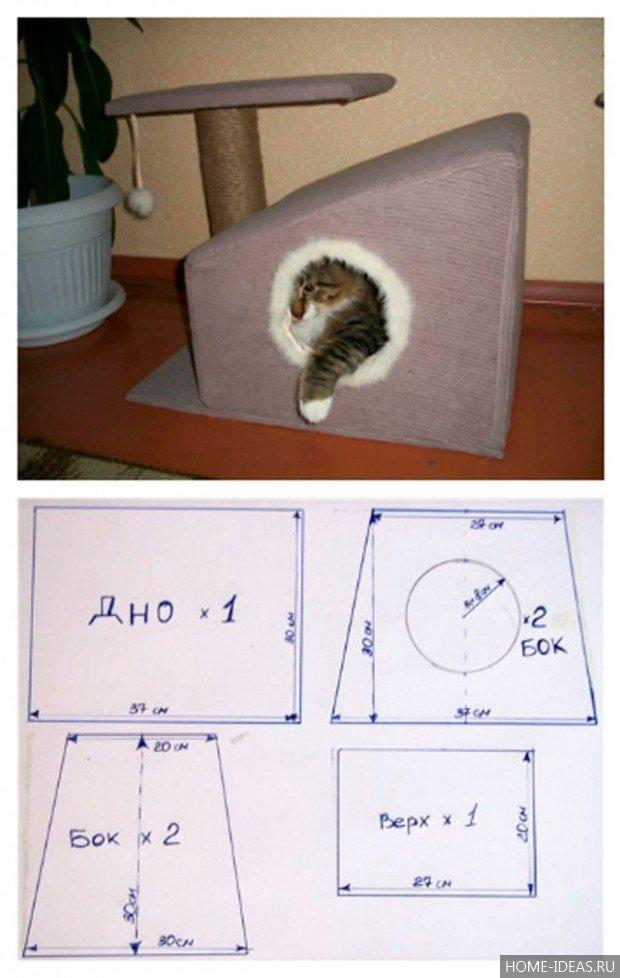 Эскизы домик для кошки своими руками
