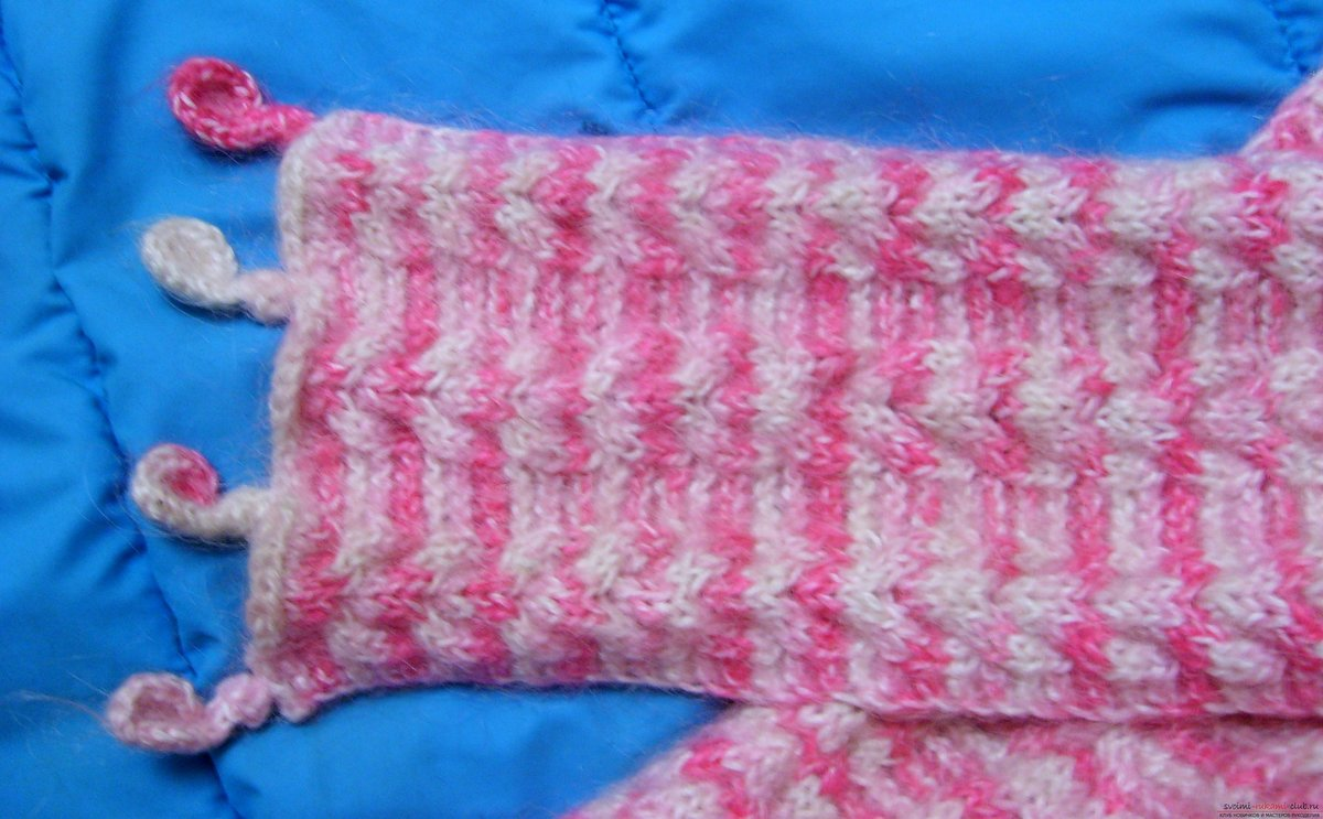 Вязание детского шарфика для девочки спицами