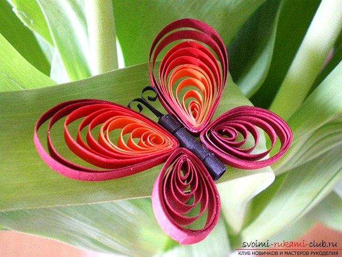 Бабочка из полосок бумаги своими руками