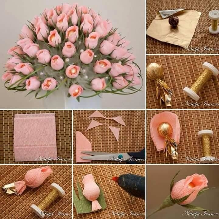 Сделать цветок подарок 1