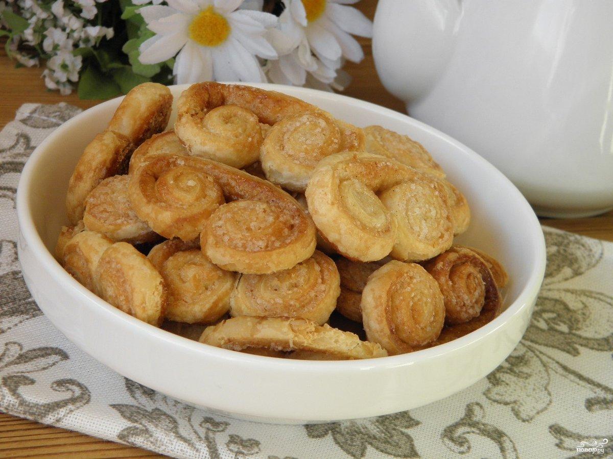 Печенье Ушки из готового слоеного теста в домашних условиях 16