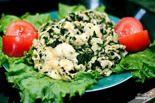 Рецепт макарон со шпинатом