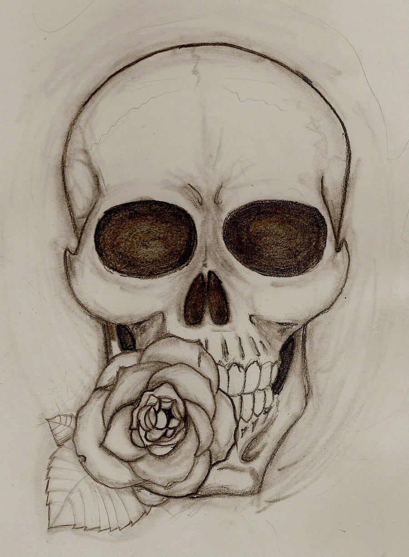 Нарисованная роза с черепом