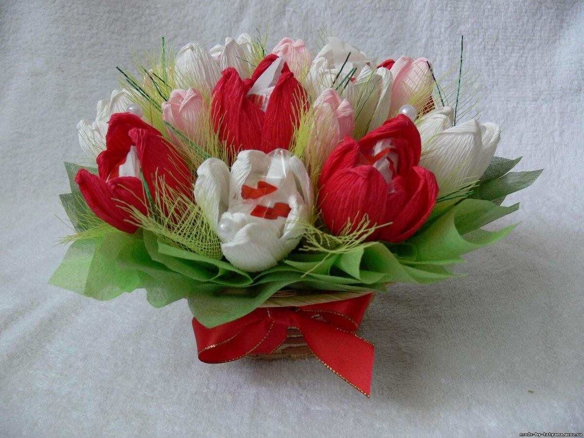 Букет из конфет своими руками тюльпан