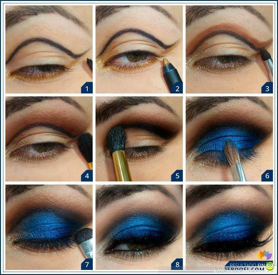 Макияж для каре-зеленых глаз под синее платье7