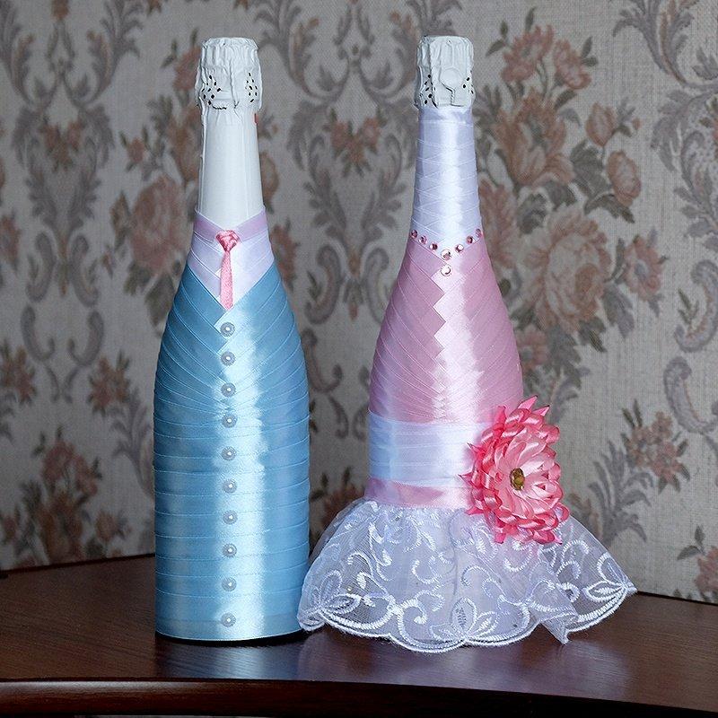 Как сделать свадебные бутылки лентами 86