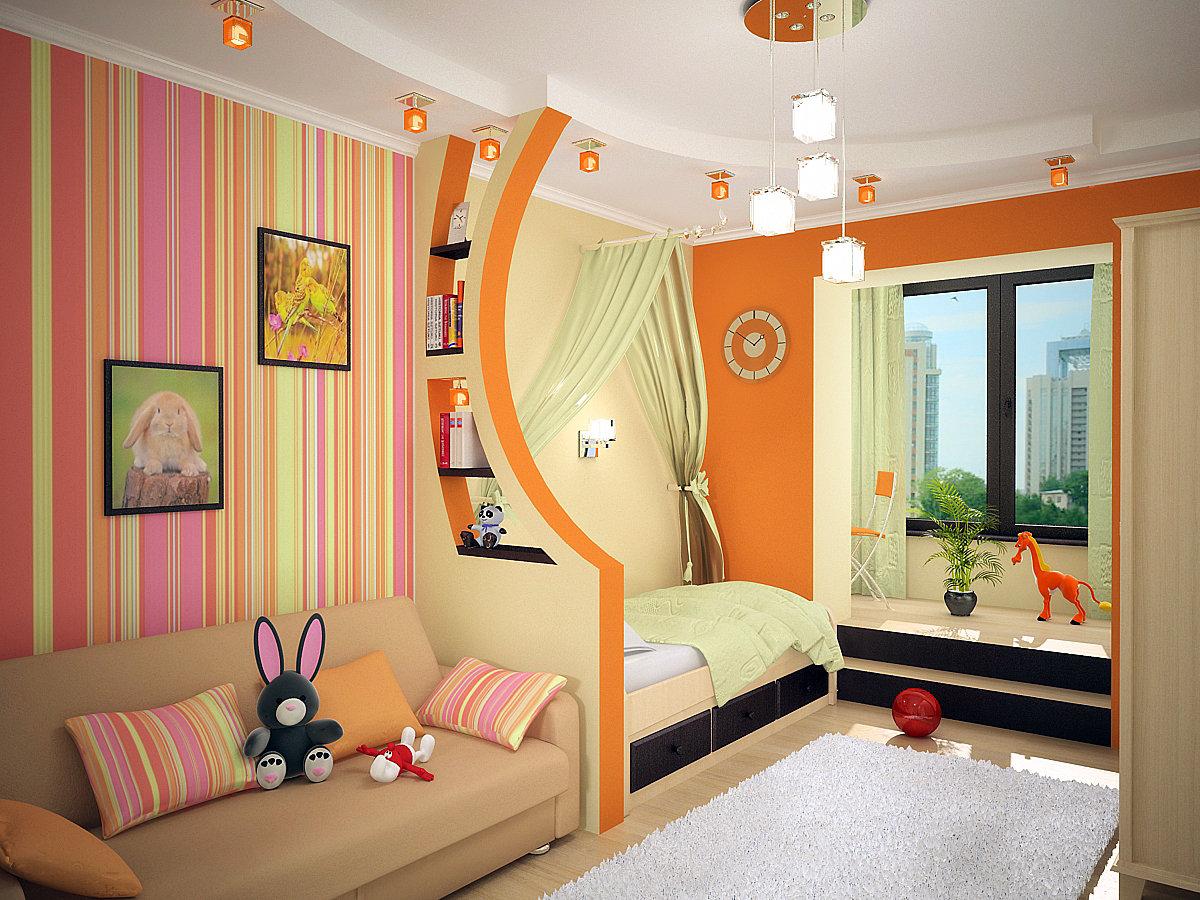 Дизайн детской комнаты для двух разнополых детей 20 кв.м