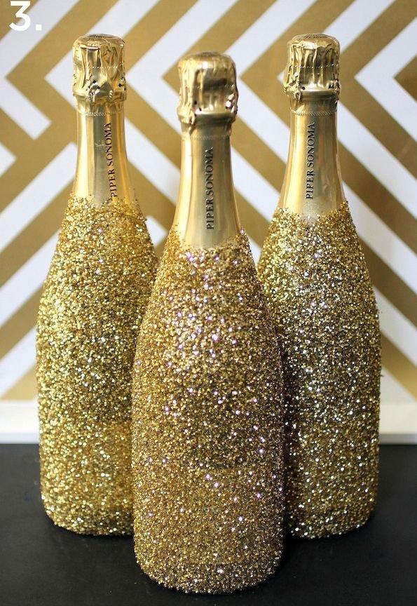 Декор бутылок блестками