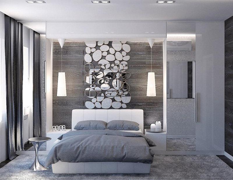 Дизайн спальни в серо белых тонах