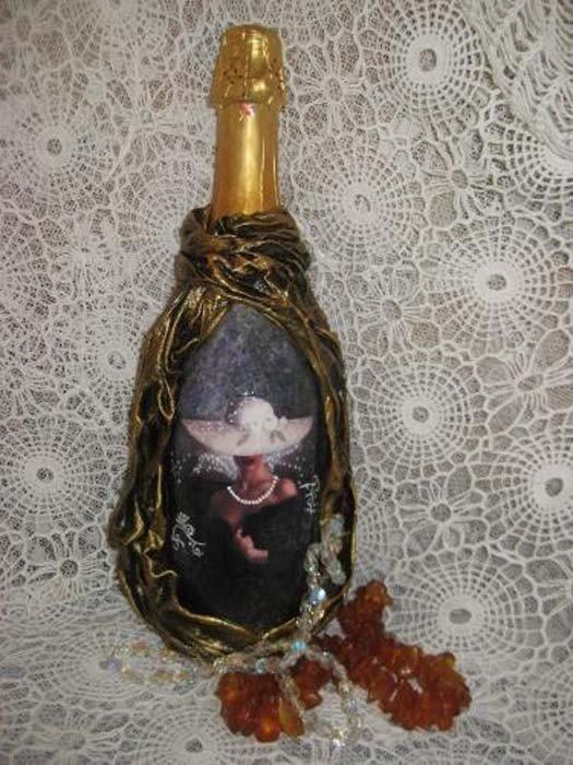 Бутылки декупаж с тканью картинки