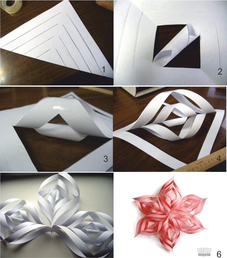 Объёмные снежинки из бумаги своими руками пошаговая инструкция фото 80
