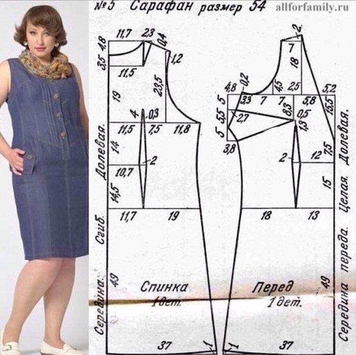 Выкройки летних платьев и сарафанов для полных женщин