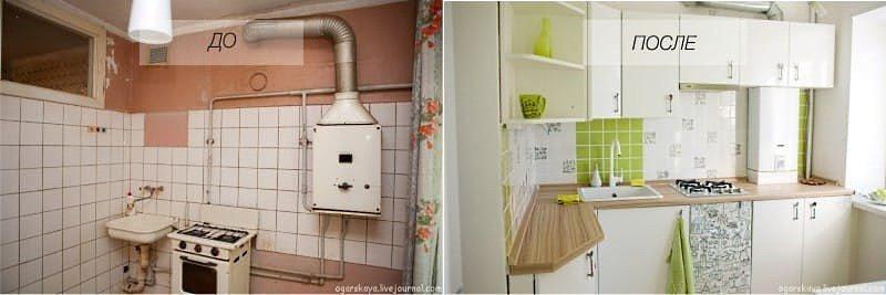 Ремонт кухни в хрущевке фото до и после 6 кв.м своими руками