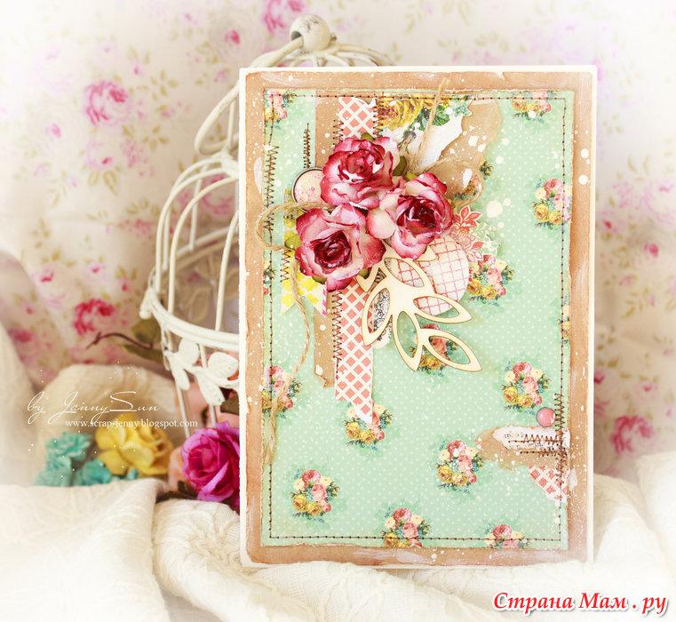 Скрапбукинг цветочная открытка 11