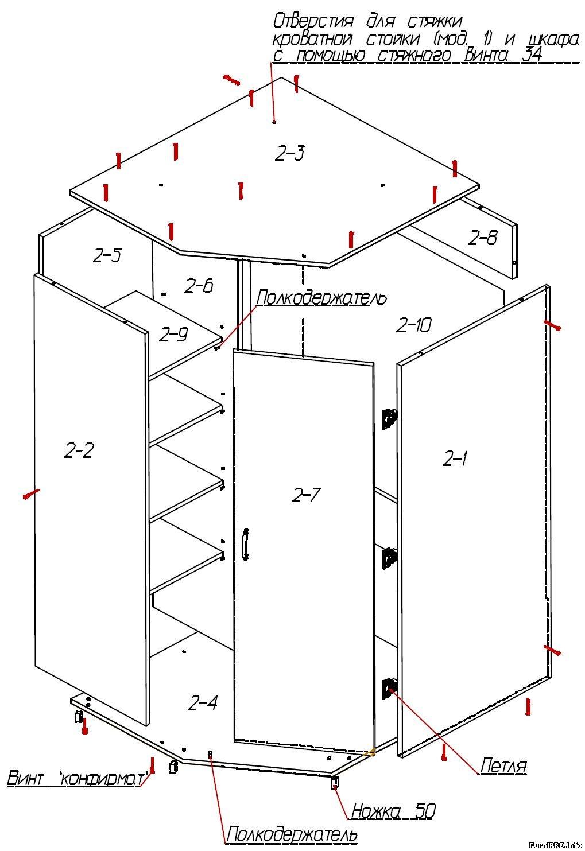 Угловой кухонный шкаф своими руками: чертежи, этапы на 50