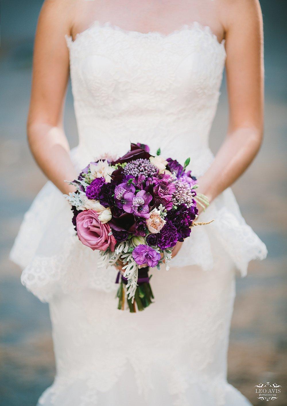 Фото букета цветов невесты фиолетовые